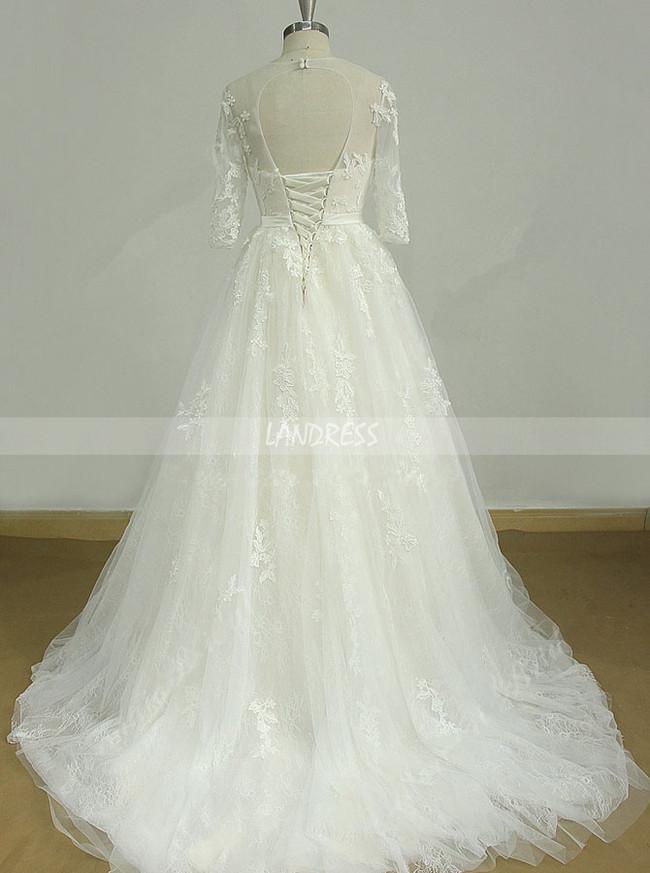 A-line Wedding Dresses with 1/2 Length Sleeves,Princess Wedding Dress,11597