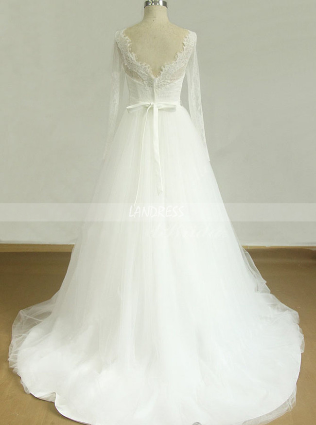 Simple Wedding Dresses with Long Sleeves,A-line Bridal Dress,11598