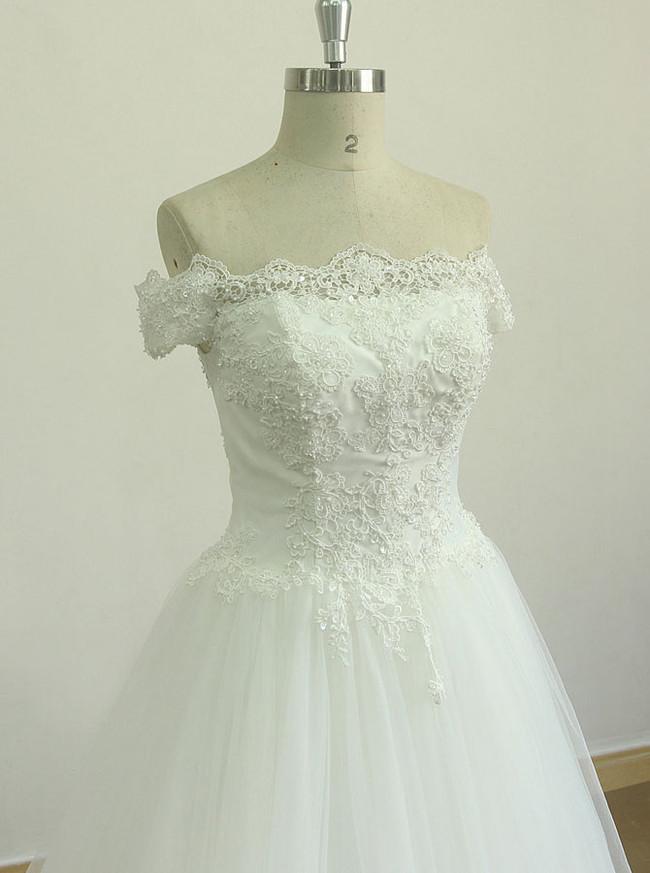Off the Shoulder Wedding Dresses,A-line Bridal Dress Corset,11599