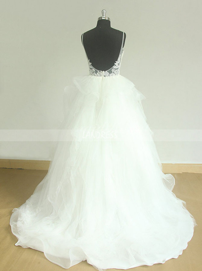 White Wedding Gown with Straps,Open Back Bridal Gown,11600