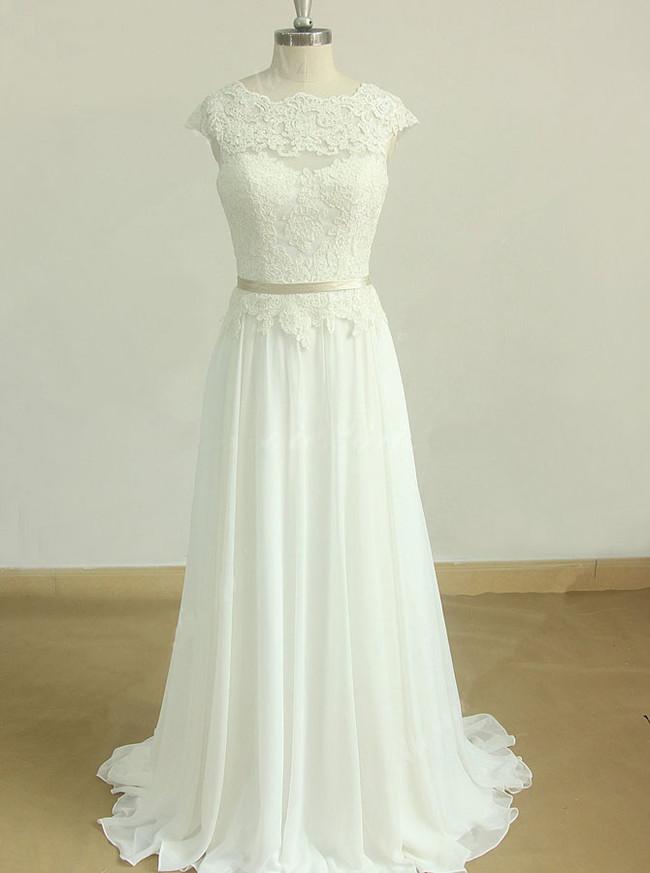 Gorgeous Wedding Dress with Cap Sleeves,Beach Wedding Dress,11602