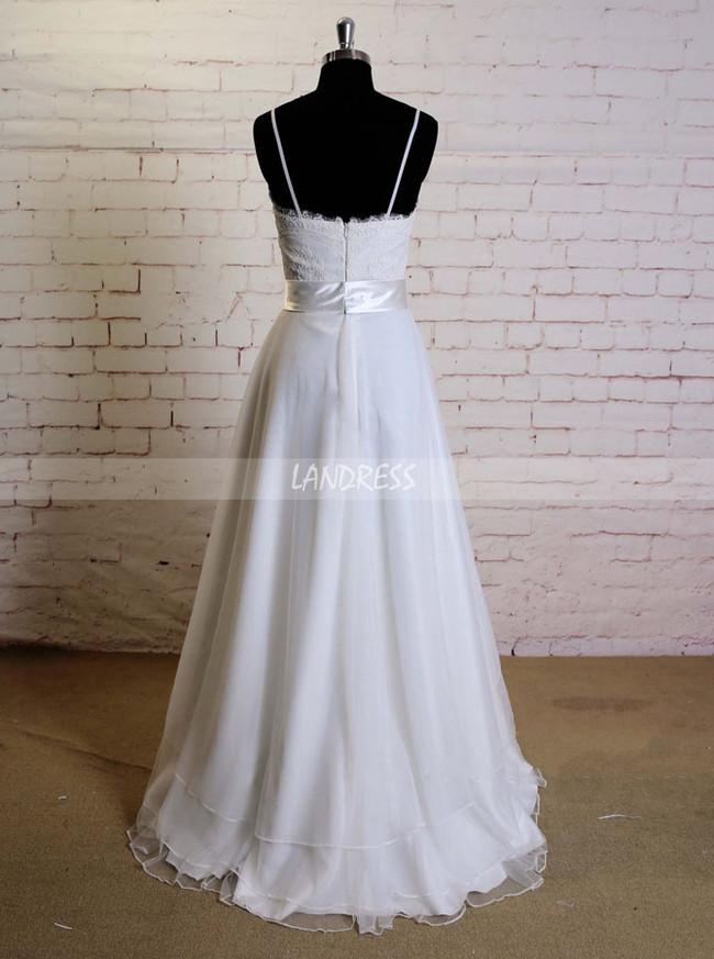 White Spaghetti Straps Wedding Dresses,Layered Tulle Wedding Dress,11604
