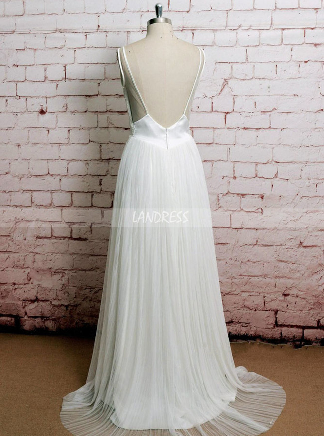 Pleated Wedding Dresses,Beach Wedding Dress,11605