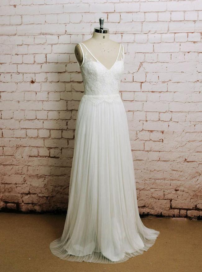Pleated Wedding Dresses,Beach Wedding Dress,11605