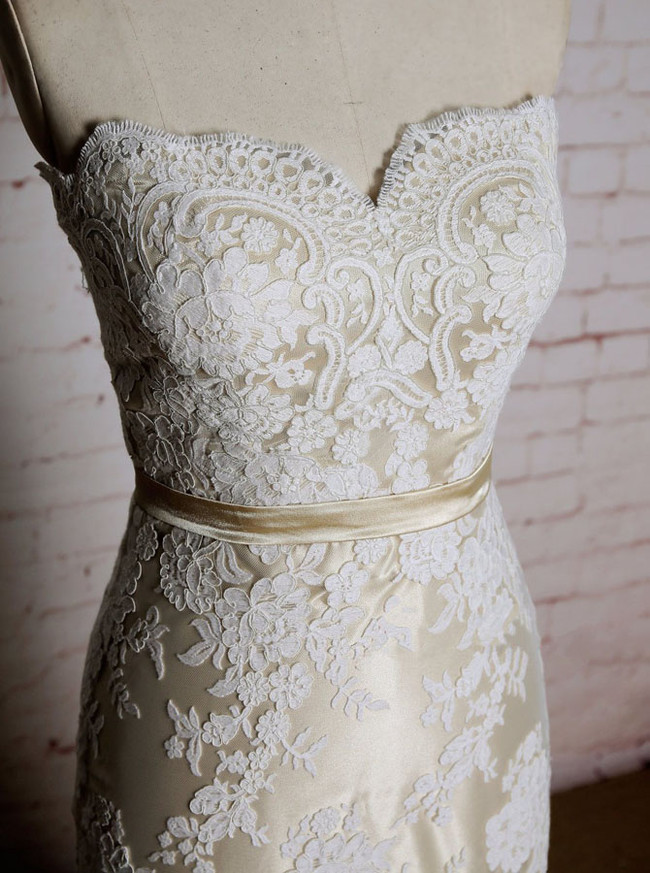 Champagne Lace Wedding Dresses,Strapless Fit and Flare Wedding Dress,11606