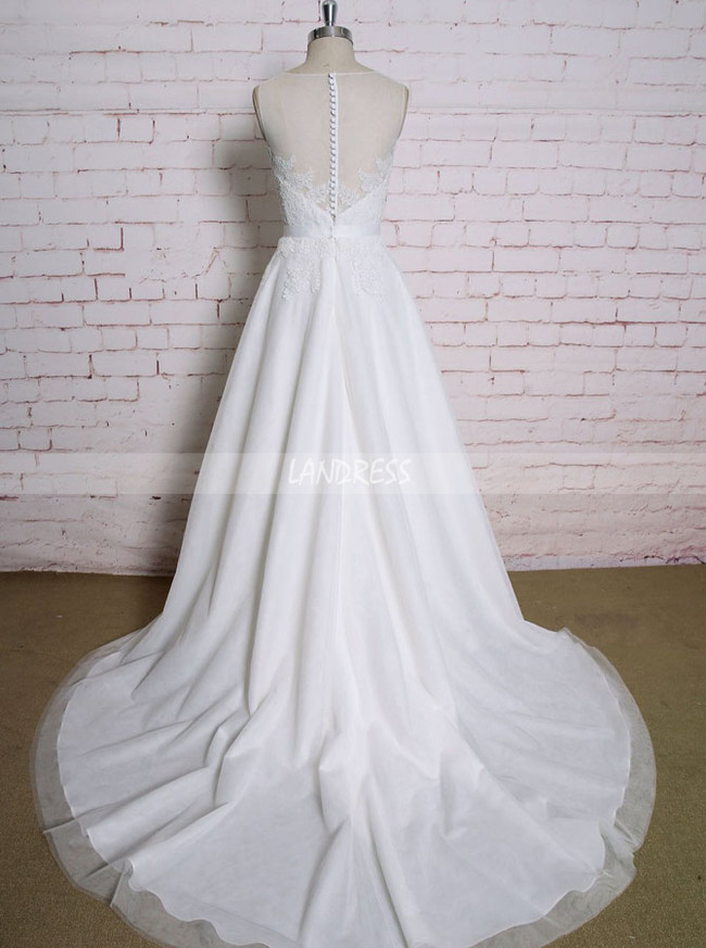 A-line Modest Wedding Dresses,Lace and Tulle Wedding Dress,11607