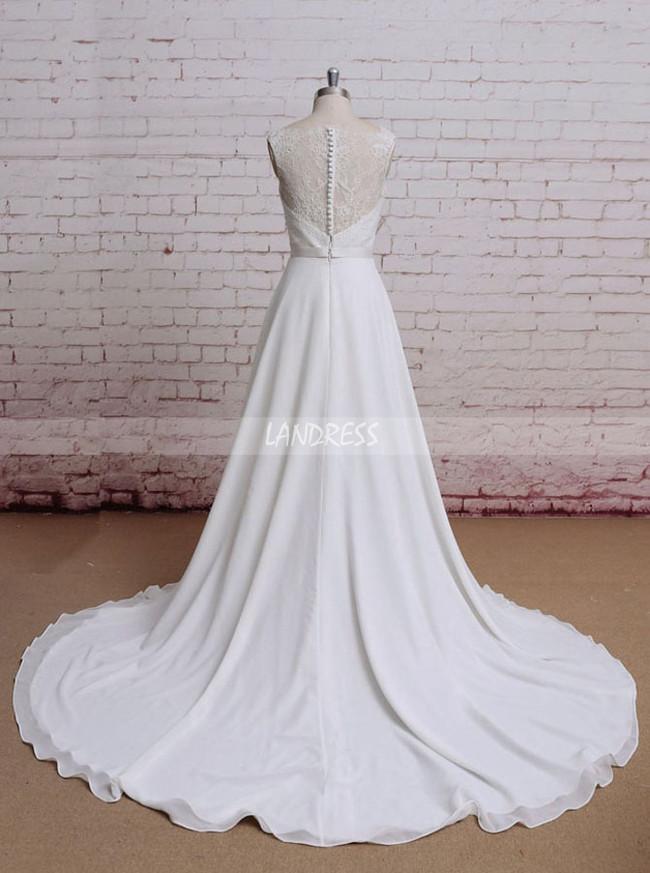 Boho Wedding Dresses,Chiffon Beach Wedding Dress,11608