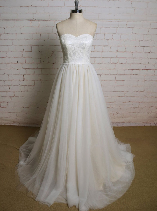 Pretty Champagne Wedding Dresses,Informal Simple Wedding Dress,11609