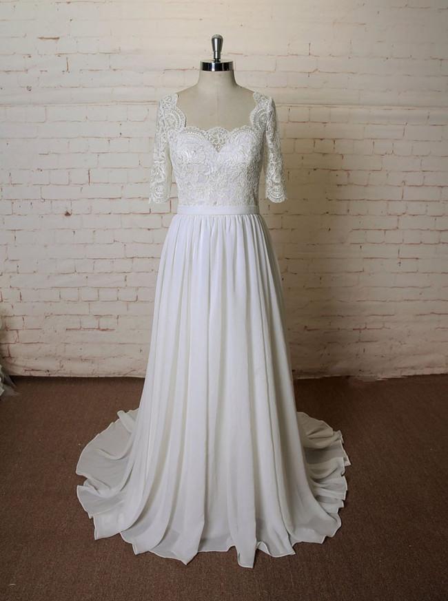 Chiffon Wedding Dresses with Sleeves,Beach Wedding Dress,11610
