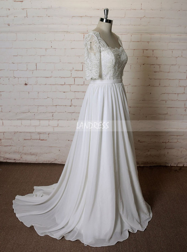 Chiffon Wedding Dresses with Sleeves,Beach Wedding Dress,11610