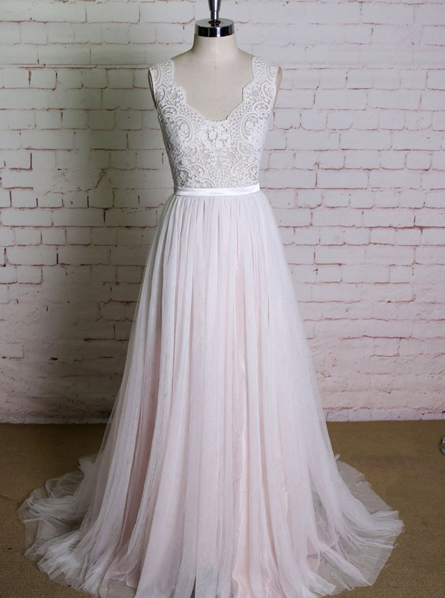 Blush A-line Wedding Dresses,Lace and Tulle Wedding Dress,11612