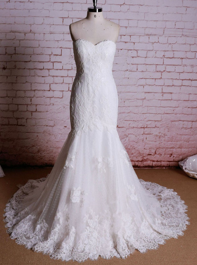 Mermaid Lace Wedding Dresses,Strapless Vintage Wedding Dress,11613