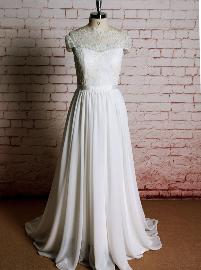 Boho Wedding Dresses with Short Sleeves,Chiffon Wedding Dress,11615