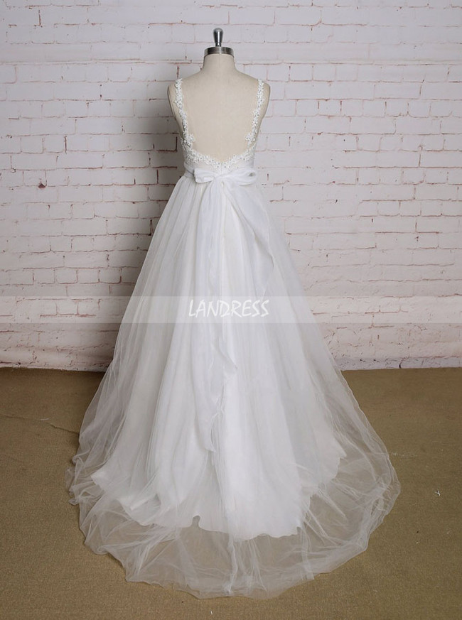 Tulle Wedding Dresses with Straps,Empire A-line Wedding Gown,11616