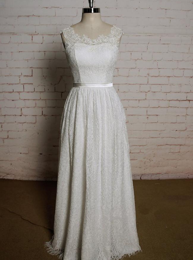 Lace Beach Wedding Dresses with Sash,Floor Length Wedding Dress,11617