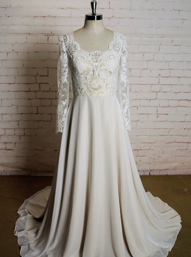 Lace and Chiffon Wedding Dresses with Long Sleeves,11618