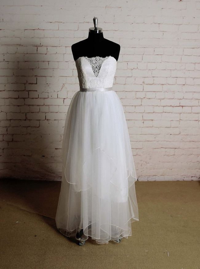 Ruffled Floor Length Wedding Dresses,Strapless Beach Wedding Dress,11619