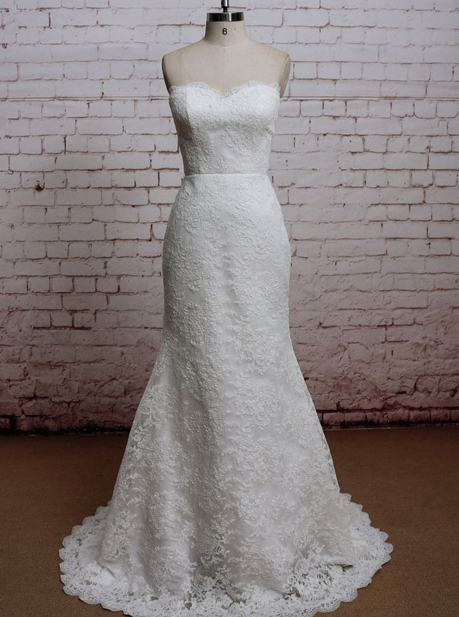 Mermaid Lace Overlay Wedding Dresses,Sweetheart Wedding Dress,11620