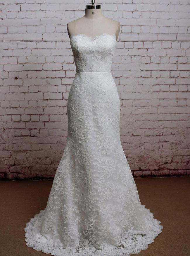 Mermaid Lace Overlay Wedding Dresses,Sweetheart Wedding Dress,11620