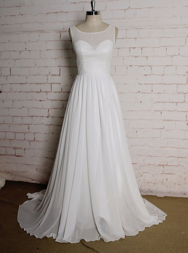 Simple Beach Wedding Dresses,Pleated Chiffon Summer Wedding Dress,11621