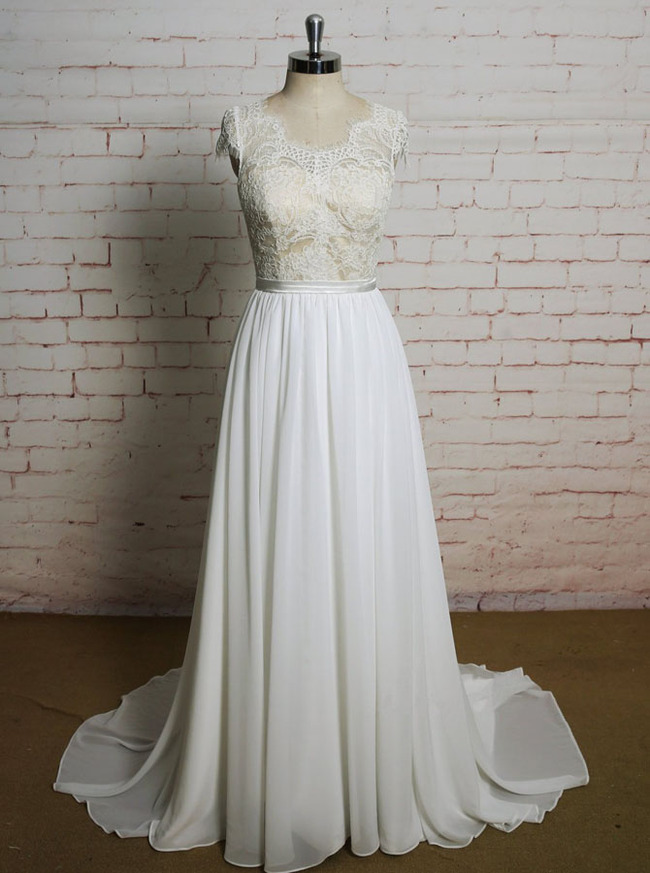 Beach Wedding Dresses with Cap Sleeves,Elegant Chiffon Wedding Dress,11622