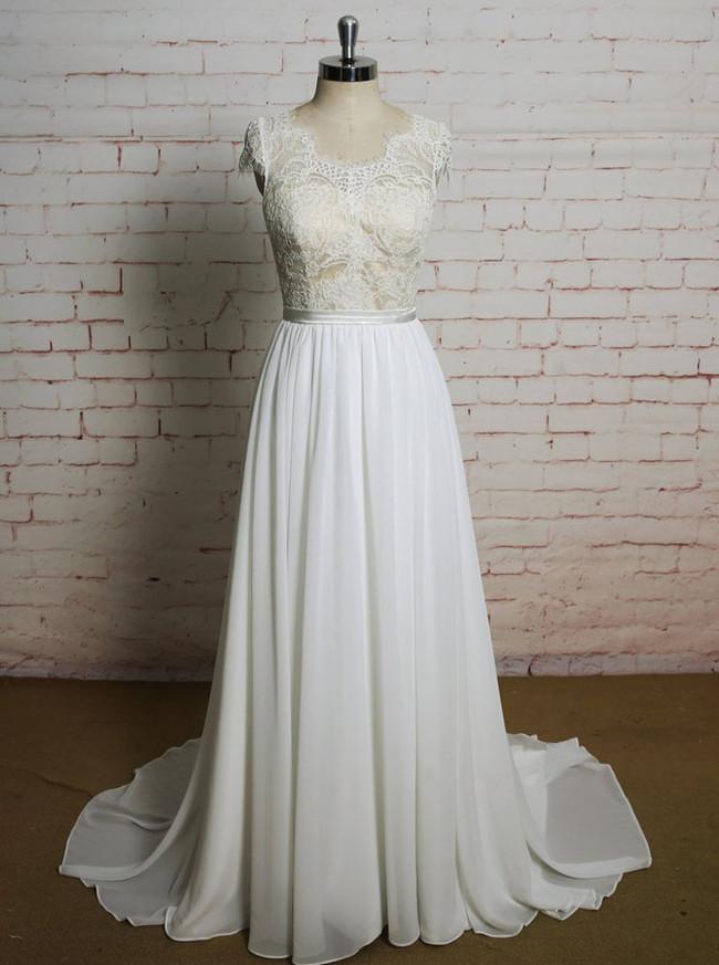 Beach Wedding Dresses with Cap Sleeves,Elegant Chiffon Wedding Dress,11622