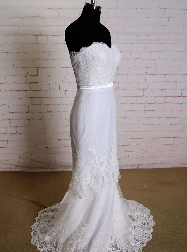 Fit And Flare Wedding Dress,Lace Strapless Wedding Dress,11623