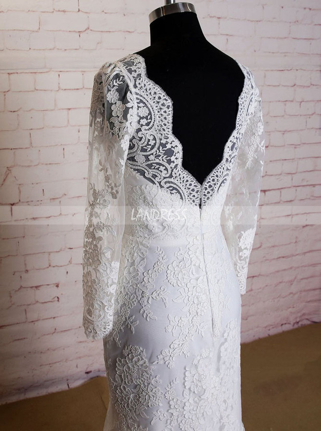 Fitted Wedding Dresses with Long Sleeves,Lace Vintage Wedding Dress,11624