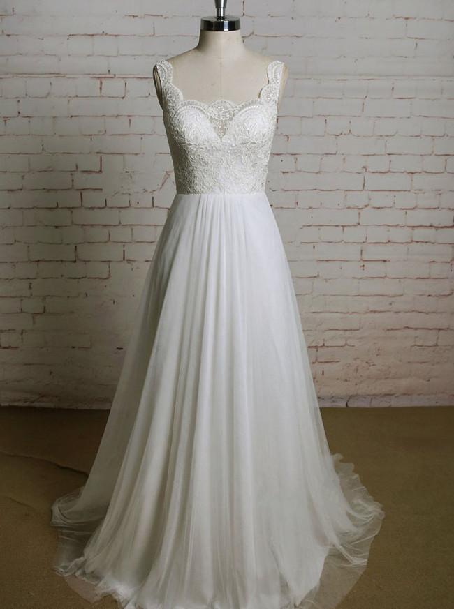 Ivory Wedding Dresses,Lace and Tulle Wedding Dress,11626