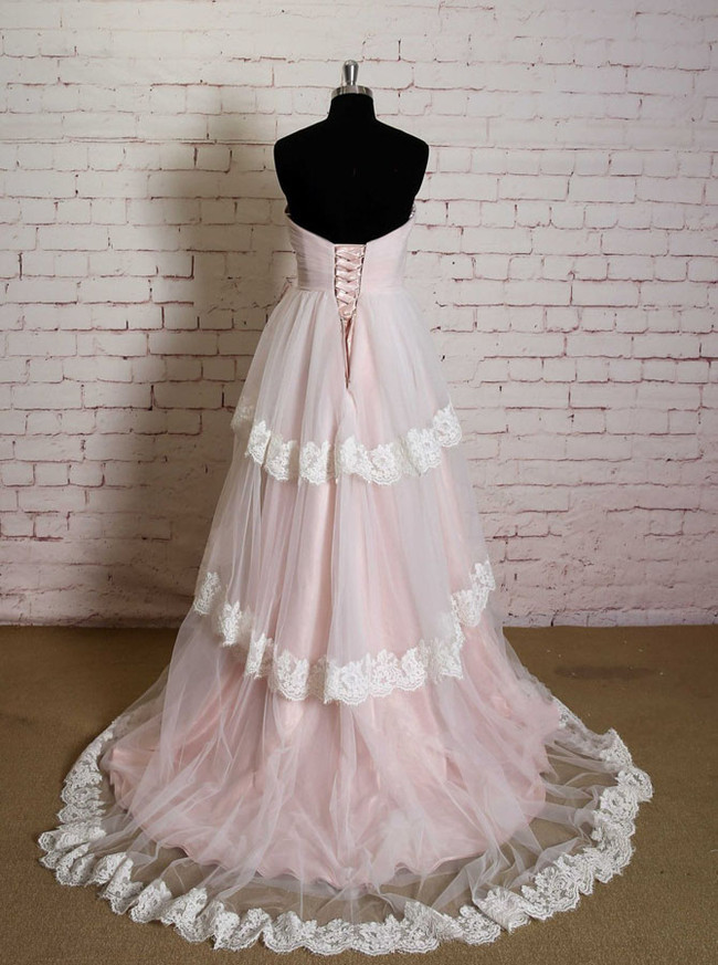 Pink Layered Wedding Dresses,Princess Wedding Dress,11627