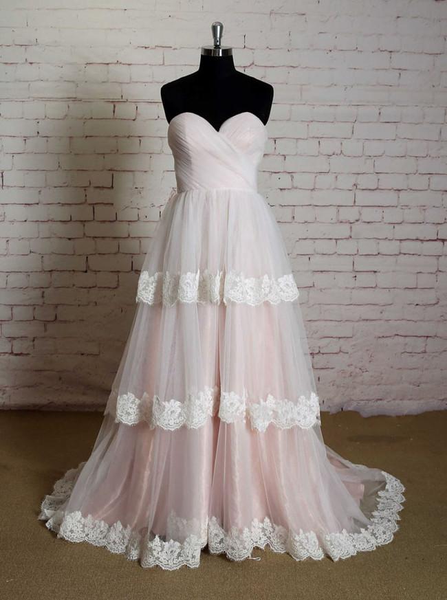 Pink Layered Wedding Dresses,Princess Wedding Dress,11627