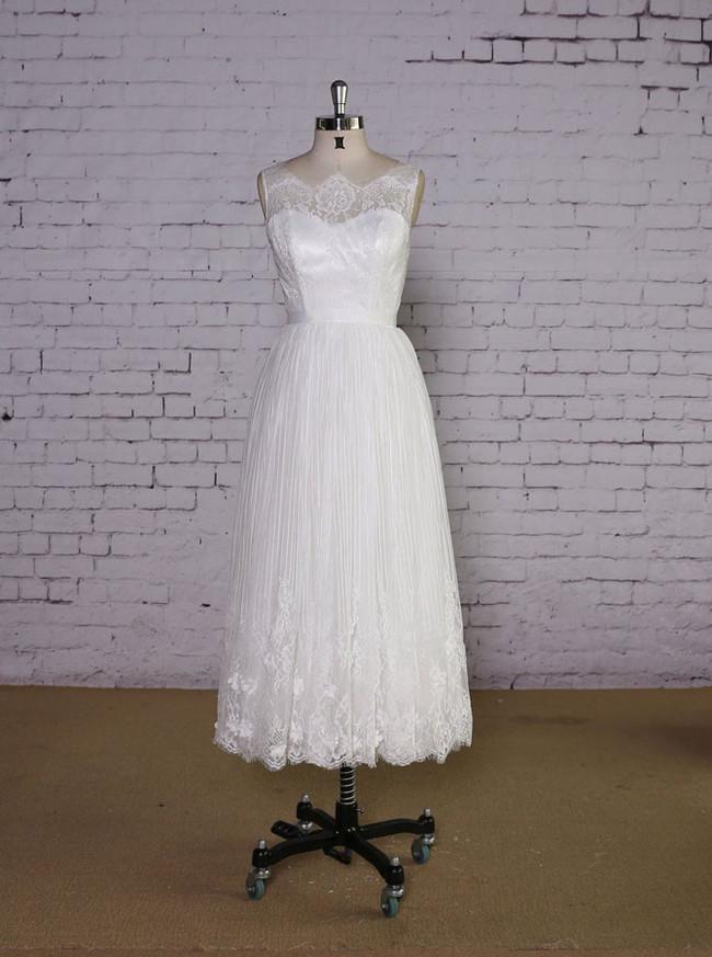 Boho Tea Length Wedding Dress Wedding Reception Dress Short 11630 Landress Co Uk