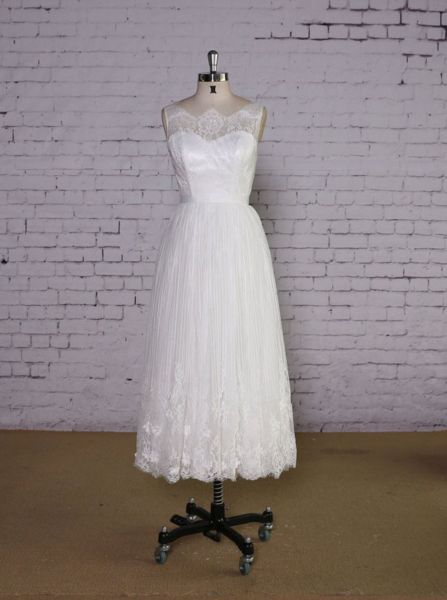 Boho Tea Length Wedding Dress,Wedding Reception Dress Short,11630