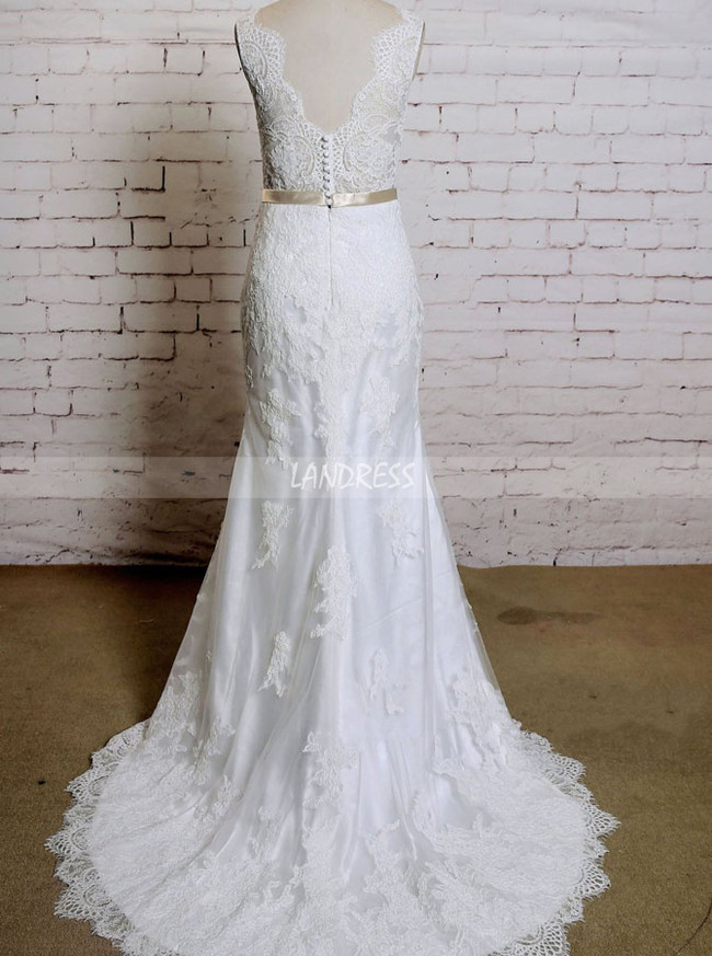Elegant Wedding Dress with Sash,Lace Mermaid Wedding Dress,11631