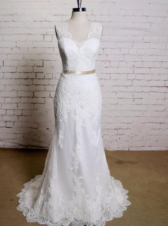 Elegant Wedding Dress with Sash,Lace Mermaid Wedding Dress,11631