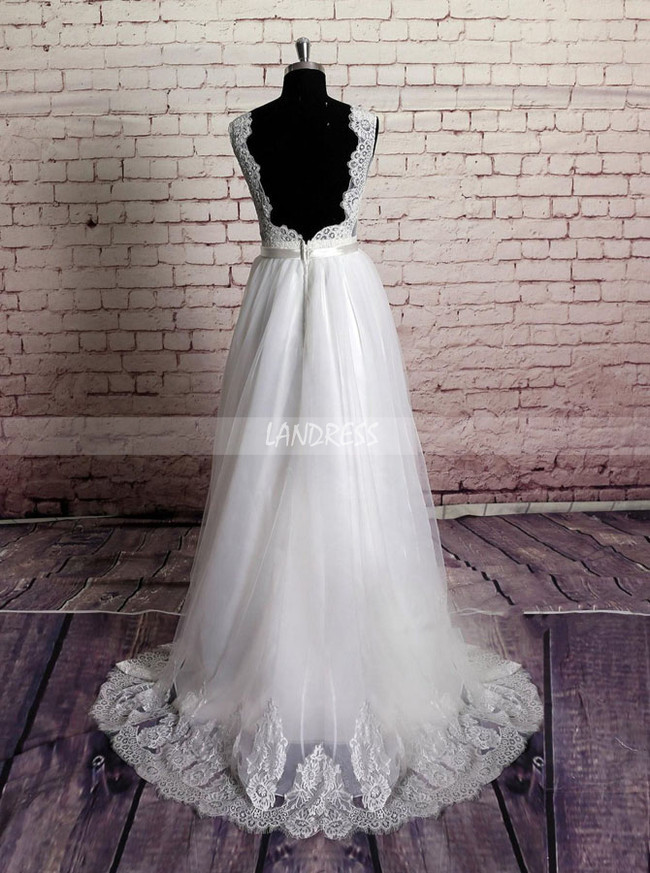 Floor Length Wedding Dress,White Wedding Dress,11633