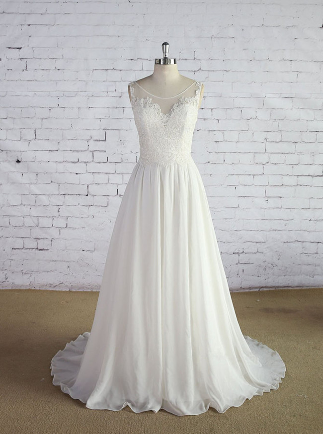 Ivory Wedding Dresses,Chiffon Beach Wedding Dress,11636