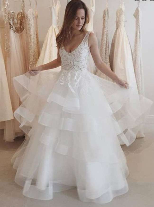 Tiered Organza Wedding Dresses,Open Back Bridal Gown,11637