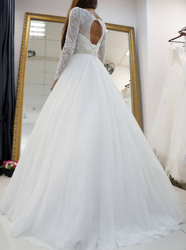 A-line Wedding Dresses with Sleeves,Cutout Wedding Dress,11638