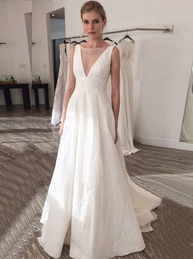 Modern A-line Wedding Dresses,Illusion V-neck Wedding Dress,11639