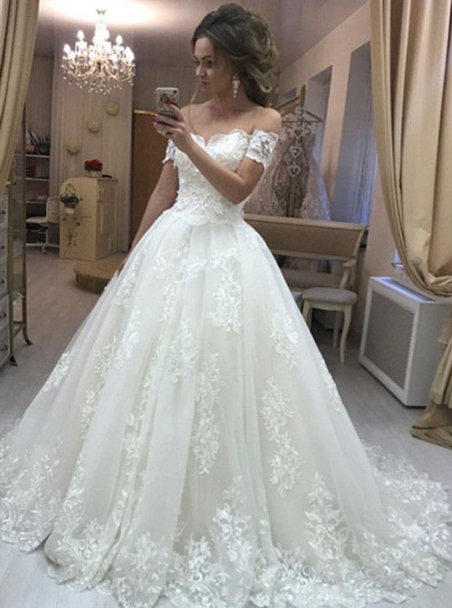 Princess Off the Shoulder Ball Gown Wedding Dress,Classic Wedding Gown,11640