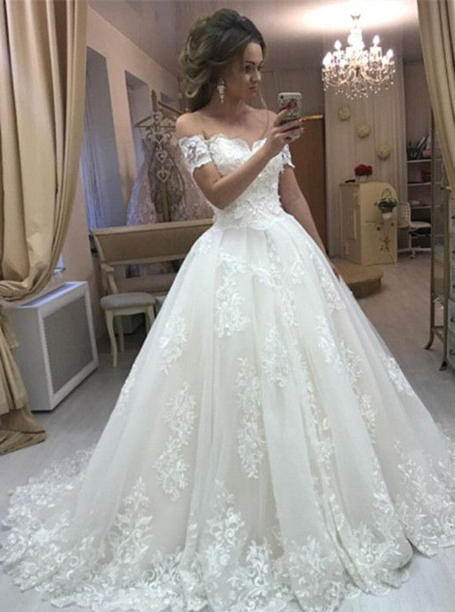 Princess Off The Shoulder Ball Gown Wedding Dress Classic Wedding Gown 11640