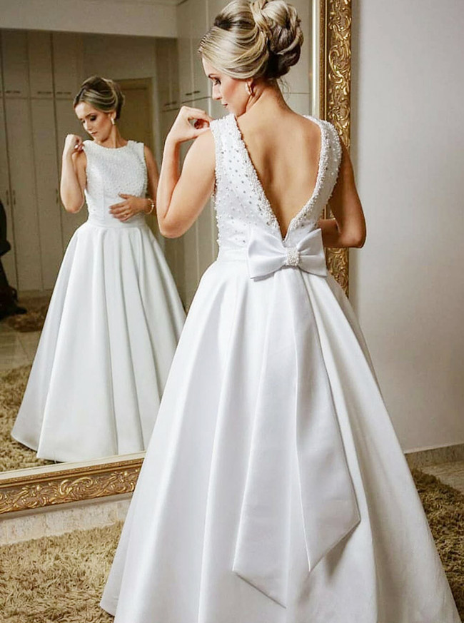 A-line Wedding Dresses with Beaded Top,Floor Length Outdoor Wedding Dress,11641
