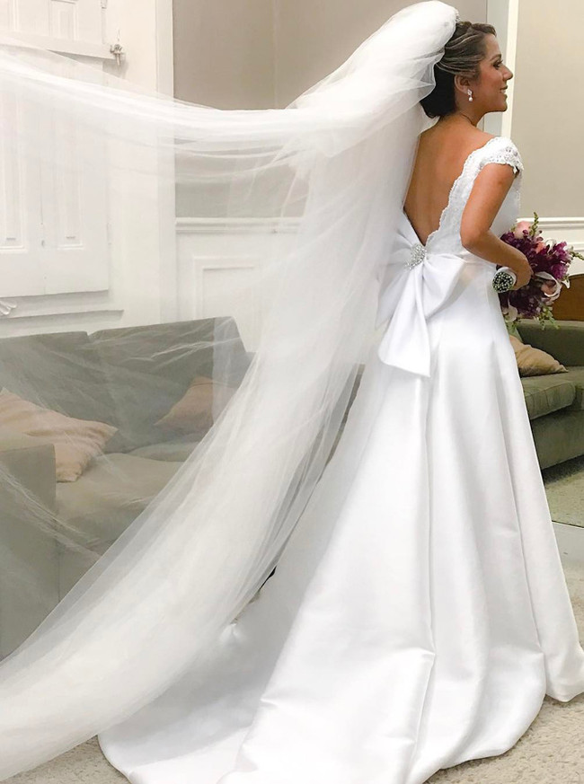 White A-line Wedding Dresses with Train,V-neck Wedding Dress,11642