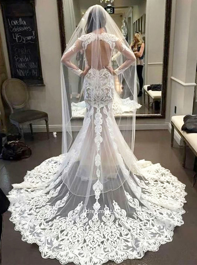 Mermaid Lace Wedding Dresses With Long Sleevesopen Back Wedding Dress11645