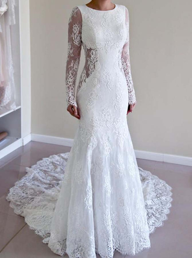 Mermaid Lace Wedding Dresses with Sleeves,Open Back Bridal Dress,11646