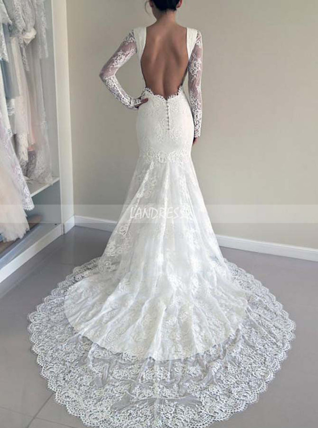 Mermaid Lace Wedding Dresses With Sleeves Open Back Bridal Dress 11646 Landress Co Uk,Non Traditional Wedding Dress Colors