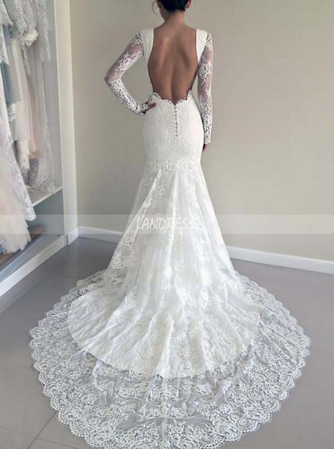 Mermaid Lace Wedding Dresses With Sleevesopen Back Bridal Dress