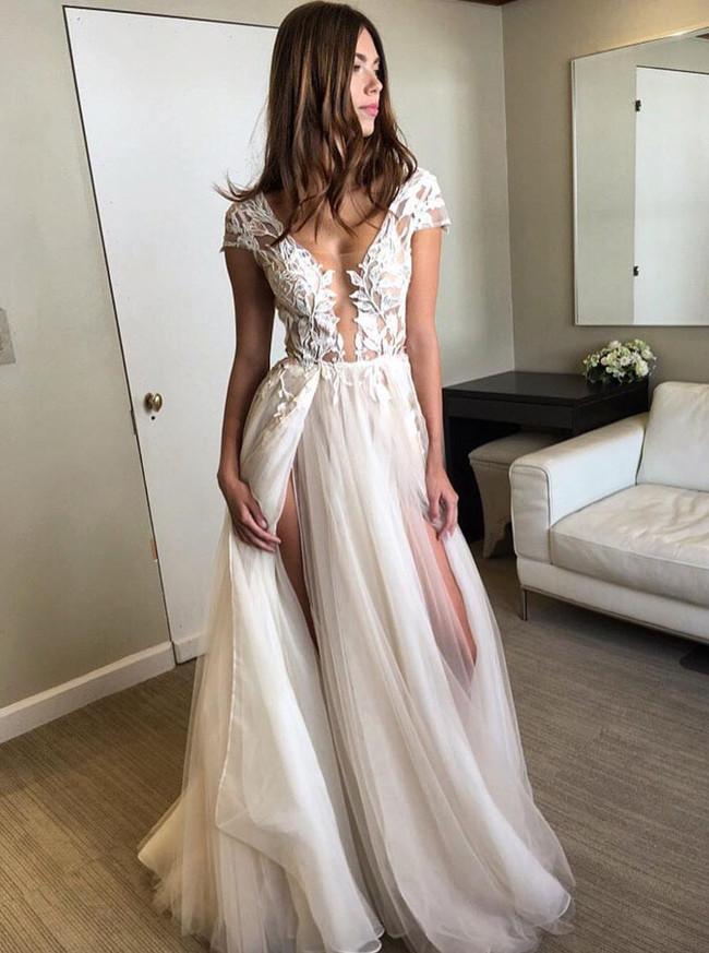 Sexy Tulle Wedding Dresses with Slit,Illusion Wedding Dress,11647