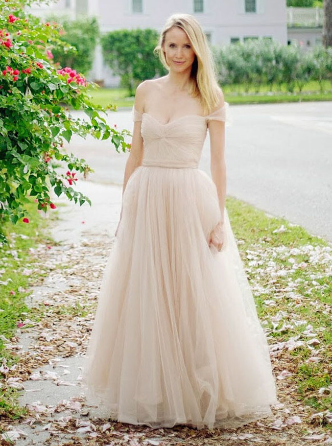 Champagne Off the Shoulder Wedding Dress,Outdoor Bridal Gown,11648